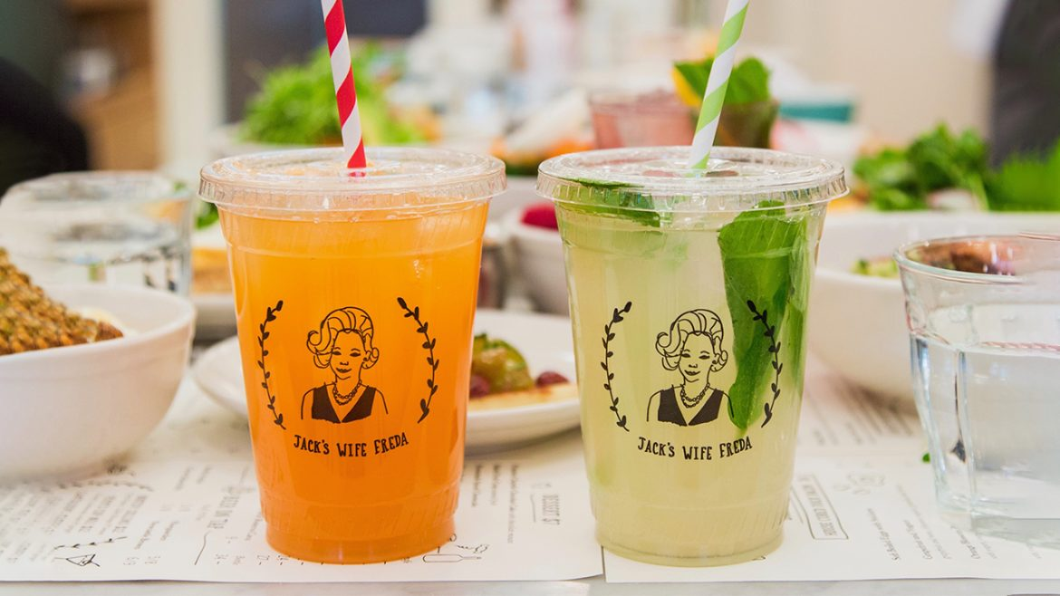 Brightly colored drinks on a table