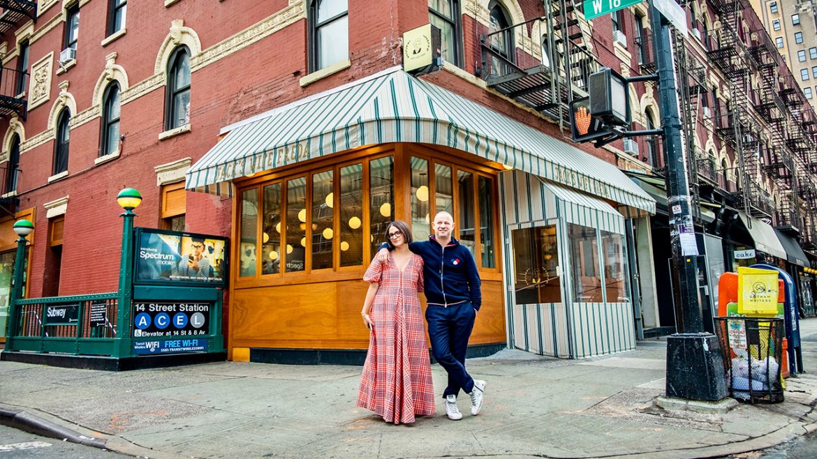 Front of restaurant with Maya and Dean