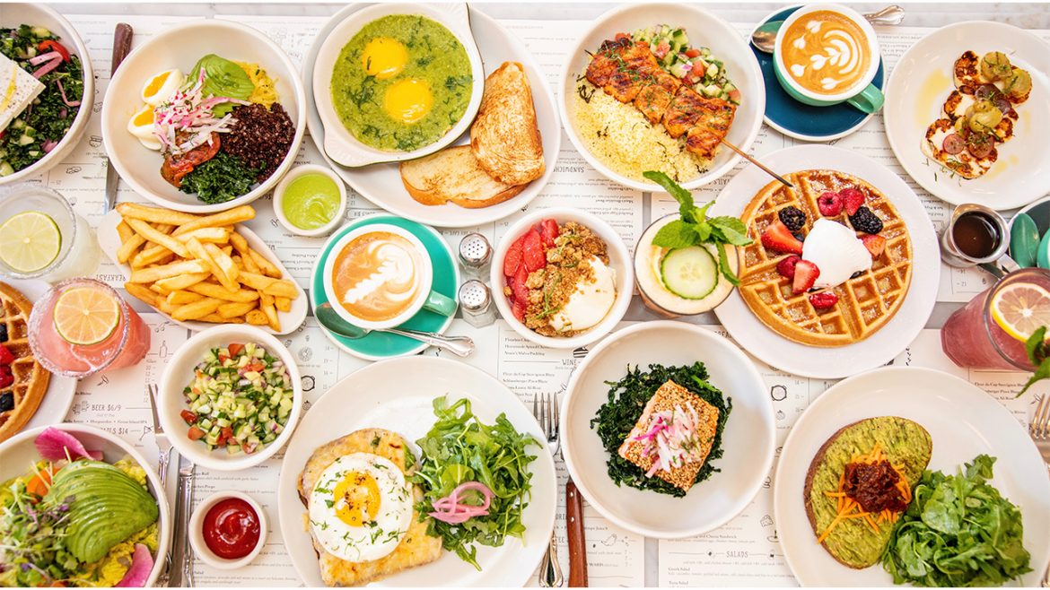 Large table of food