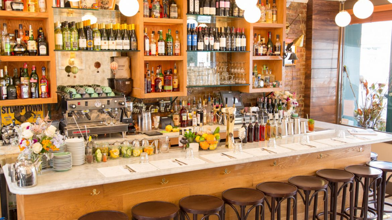 Bar setup in restaurant