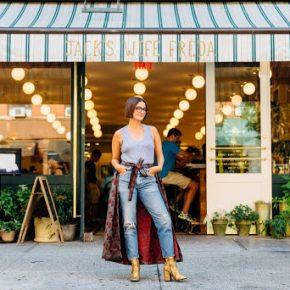 Maya in front of restaurant