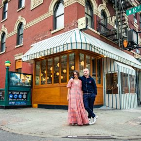 Maya and Dean in Front of Restaurant