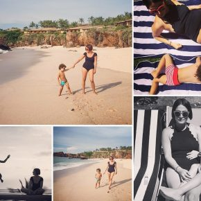 Grid of beach photos with child and maya